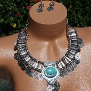 Bohemian Ethnic Tribal Necklace Earrings Set Turq